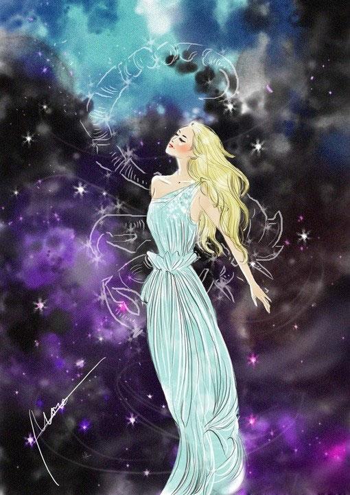 12星座美人星空图